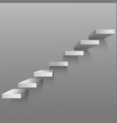 Realistic 3d detailed white upward clear stairs vector