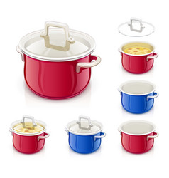 Red and blue saucepan vector