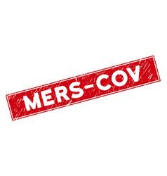 Red grunge mers-cov rectangular stamp vector