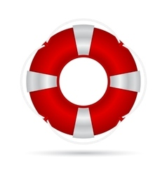 Red life buoy with a rope and silver accents vector