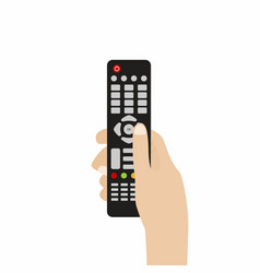 Remote control for tv hand holding tv vector