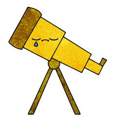 Retro grunge texture cartoon telescope vector