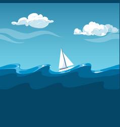 sea white sailboat on big waves vector image vector image