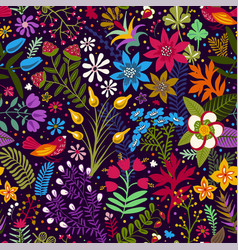 seamless pattern with stylized flowers and vector image