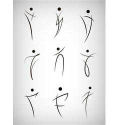 set figure line silhouette logos human vector image