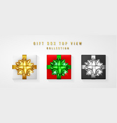 Set gift box with bow and ribbon top view element vector