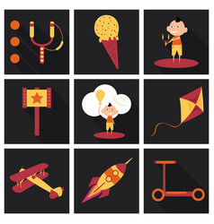 set of kids toy childhood with icons toys vector image