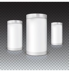 Set round tins packaging vector
