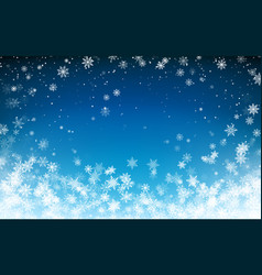 snowfall christmas background flying snow flakes vector image