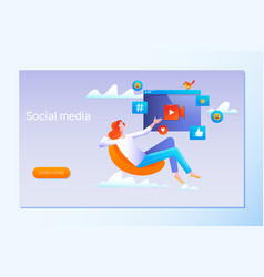 social media strategy social network business vector image