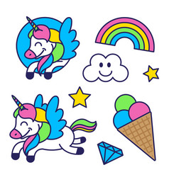 sticker set with unicorn rainbow and ice cream vector image