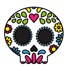 Sugar skull colorful floral isolated black outline vector