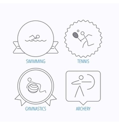 Swimming tennis and gymnastics icons vector