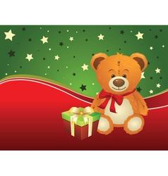 Teddy Bear with Gift Box2 vector image