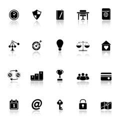 Thinking related icons with reflect on white vector image