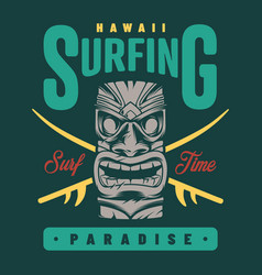 Vintage surfing paradise label vector