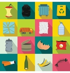 Waste and garbage icons set flat style vector image