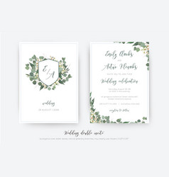 Wedding double invite invitation save the date vector