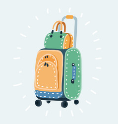 wheeled suitcase and a shoulder bag with a pattern vector image