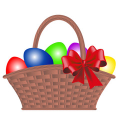 Wicker basket with dyed eggs and bow for easter vector