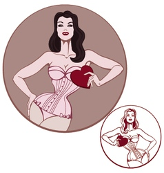 Young attractive woman on lingerie hold a heart vector
