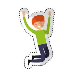 young man jumping character vector image