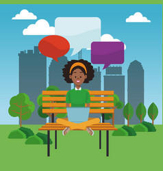 young woman using laptop at park vector image