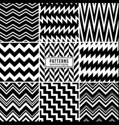 Zigzag patterns black and white regular vector