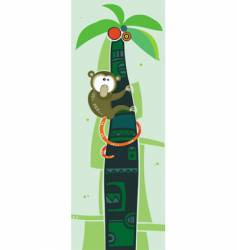 brown monkey on palm tree vector image