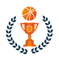 crown of leaves with trophy with basketball vector image