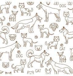 Doodle pets pattern vector
