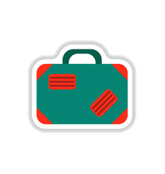 Paper sticker on white background suitcase vector