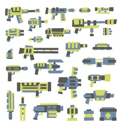 Set of simple minimal flat style sci-fi guns vector