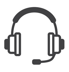 Headphones line icon call center and website vector