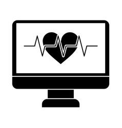 monitor heartbeat cardiology rhythm pictogram vector image vector image