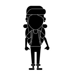 young girl traveler with backpack pictogram vector image