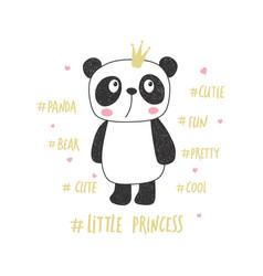 little panda princess vector image vector image