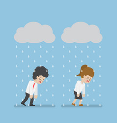 sadness businessman walking under cloud and rain vector image