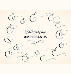 set of custom decorative ampersands isolated on vector image