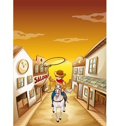 A young boy riding in a horse with a rope vector image
