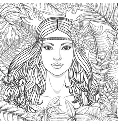 girl and tropical plants vector image