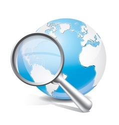 Global search glossy icon vector image
