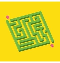 Isometric green maze in pixel art style vector image vector image