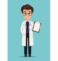 Medical doctor in white coat and glasses holding vector