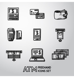 Set of freehand ATM icons with - ATM cards vector image vector image