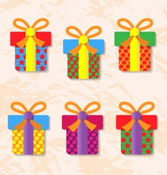 Set of icons of gift boxes on background vector image vector image