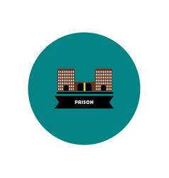 Stylish icon in color circle building prison vector