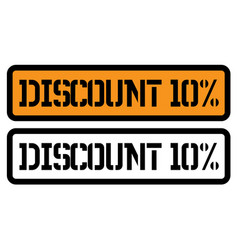 10 percent discount stamp on white vector image