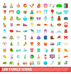 100 family icons set cartoon style vector