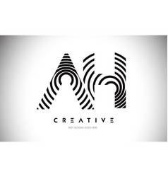 ah lines warp logo design letter icon made vector image